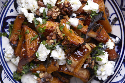 Butternut squash with sage walnuts and goats cheese