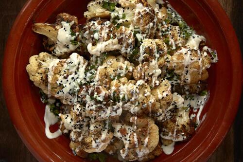 Charred cauliflower with tahini