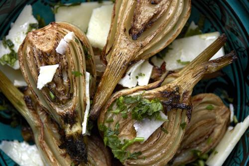 Roasted fennel with lemon and pecorino