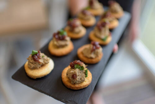 Chicken liver pate crostini