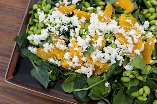 Spinach, feta, edamame and orange salad