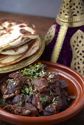 Lamb shoulder shawarma with flatbreads
