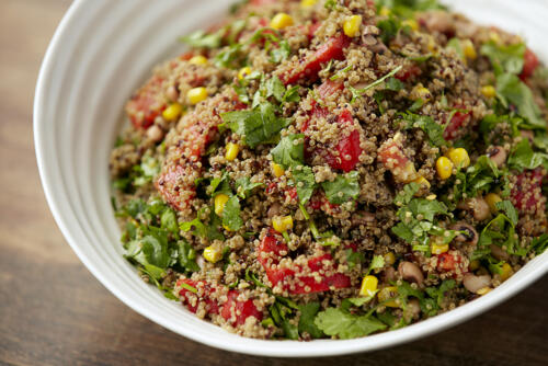 Quinoa salad with roasted peppers and corn
