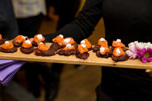 Beetroot latkes with smoked salmon